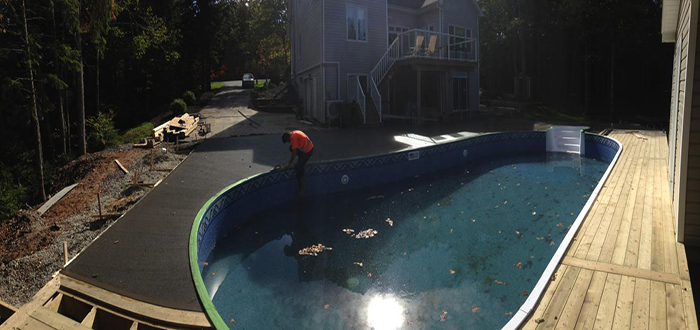 1100sqft Broom Swept, Coloured Concrete Pool Deck